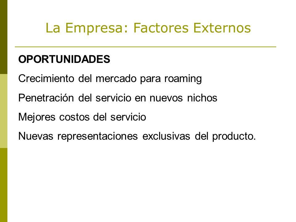 La Empresa: Factores Externos OPORTUNIDADES Crecimiento del mercado para roaming Penetración del servicio en nuevos nichos Mejores costos del servicio Nuevas representaciones exclusivas del producto.