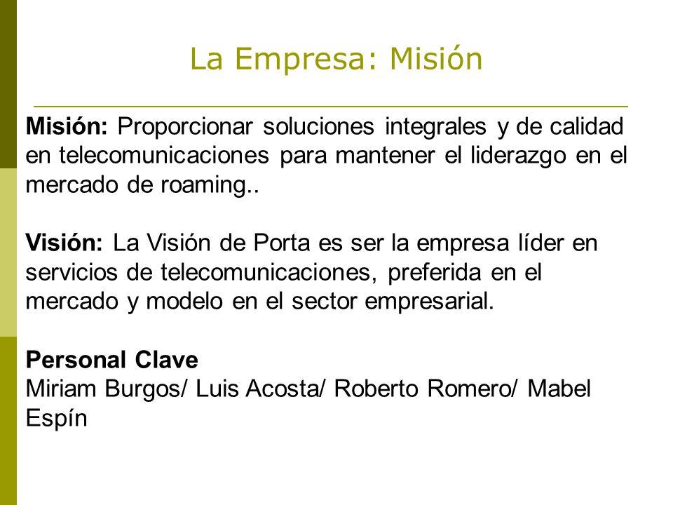 La Empresa: Misión Misión: Proporcionar soluciones integrales y de calidad en telecomunicaciones para mantener el liderazgo en el mercado de roaming..