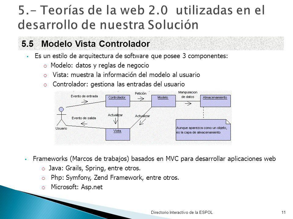 Es un estilo de arquitectura de software que posee 3 componentes: o Modelo: datos y reglas de negocio o Vista: muestra la información del modelo al us