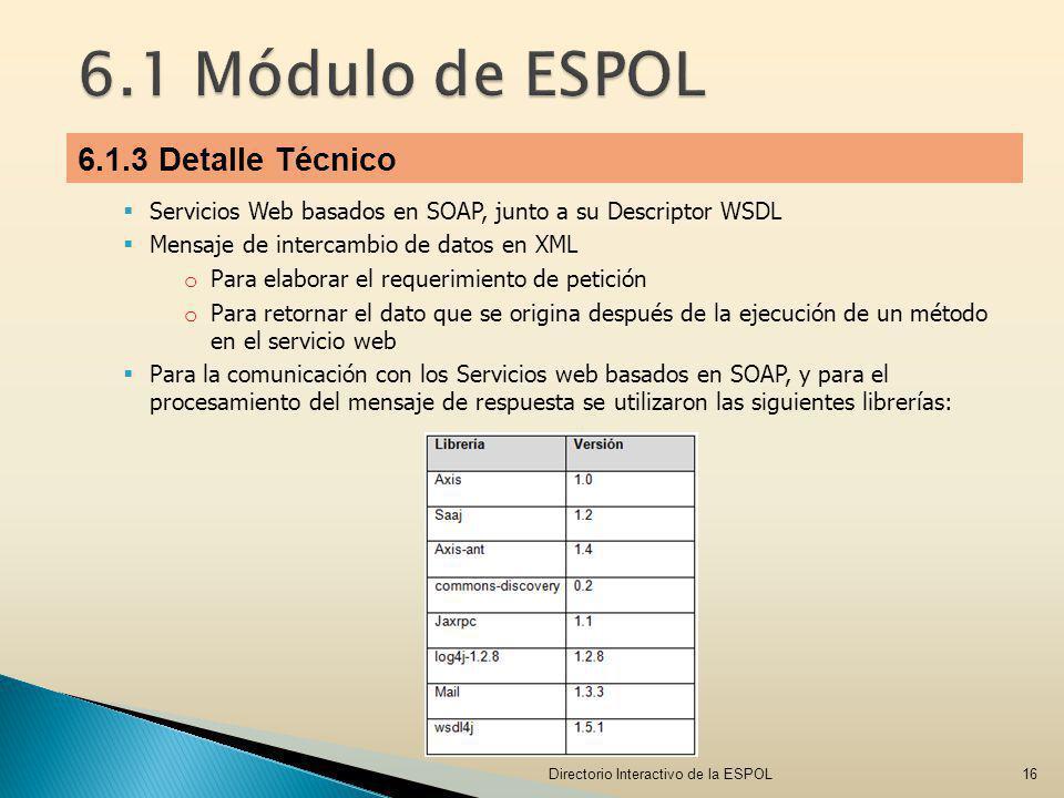 Servicios Web basados en SOAP, junto a su Descriptor WSDL Mensaje de intercambio de datos en XML o Para elaborar el requerimiento de petición o Para r