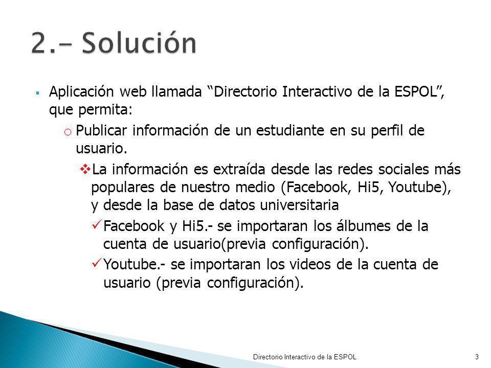 Directorio Interactivo de la ESPOL14 6.1.1 Requerimientos que implementa RequisitoDescripción 1.Ingreso al sistema Permite validar que solo puedan acceder estudiantes politécnicos a la aplicación.