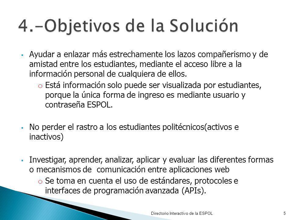 Servicios Web basados en SOAP, junto a su Descriptor WSDL Mensaje de intercambio de datos en XML o Para elaborar el requerimiento de petición o Para retornar el dato que se origina después de la ejecución de un método en el servicio web Para la comunicación con los Servicios web basados en SOAP, y para el procesamiento del mensaje de respuesta se utilizaron las siguientes librerías: Directorio Interactivo de la ESPOL16 6.1.3 Detalle Técnico