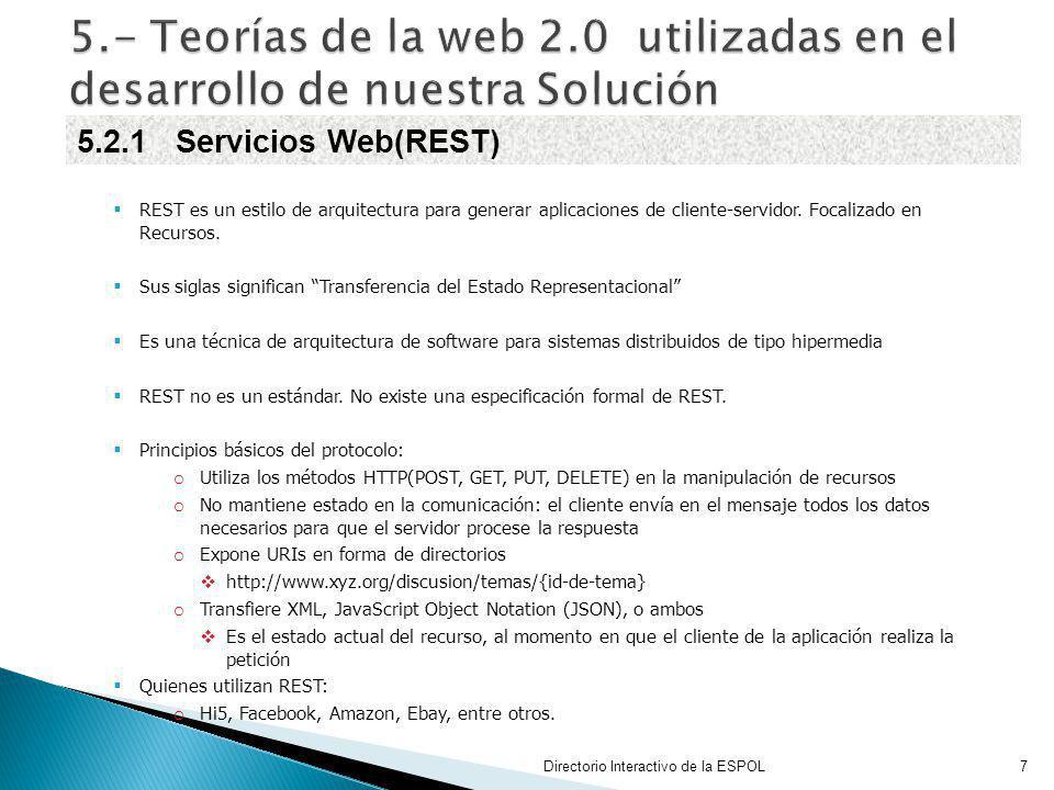 REST es un estilo de arquitectura para generar aplicaciones de cliente-servidor. Focalizado en Recursos. Sus siglas significan Transferencia del Estad