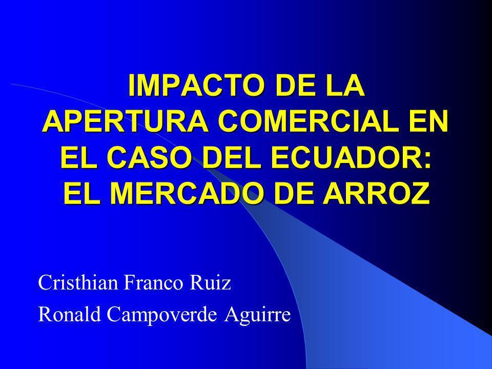 IMPACTO DE LA APERTURA COMERCIAL EN EL CASO DEL ECUADOR: EL MERCADO DE ARROZ Cristhian Franco Ruiz Ronald Campoverde Aguirre