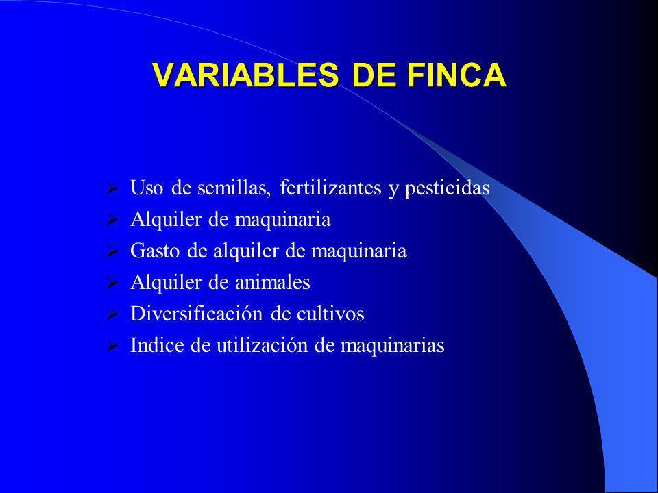 VARIABLES DE FINCA Uso de semillas, fertilizantes y pesticidas Alquiler de maquinaria Gasto de alquiler de maquinaria Alquiler de animales Diversifica