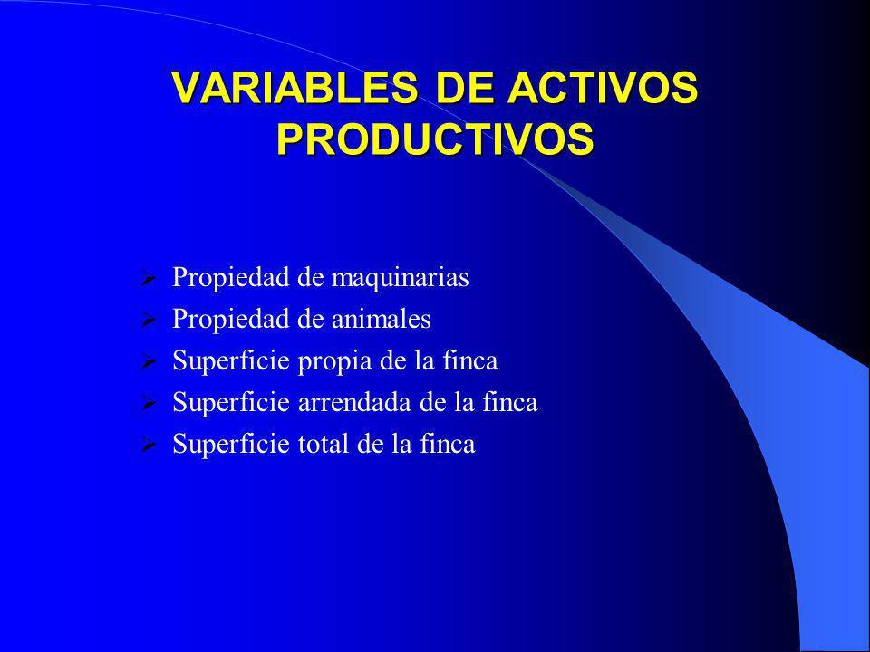 VARIABLES DE ACTIVOS PRODUCTIVOS Propiedad de maquinarias Propiedad de animales Superficie propia de la finca Superficie arrendada de la finca Superfi