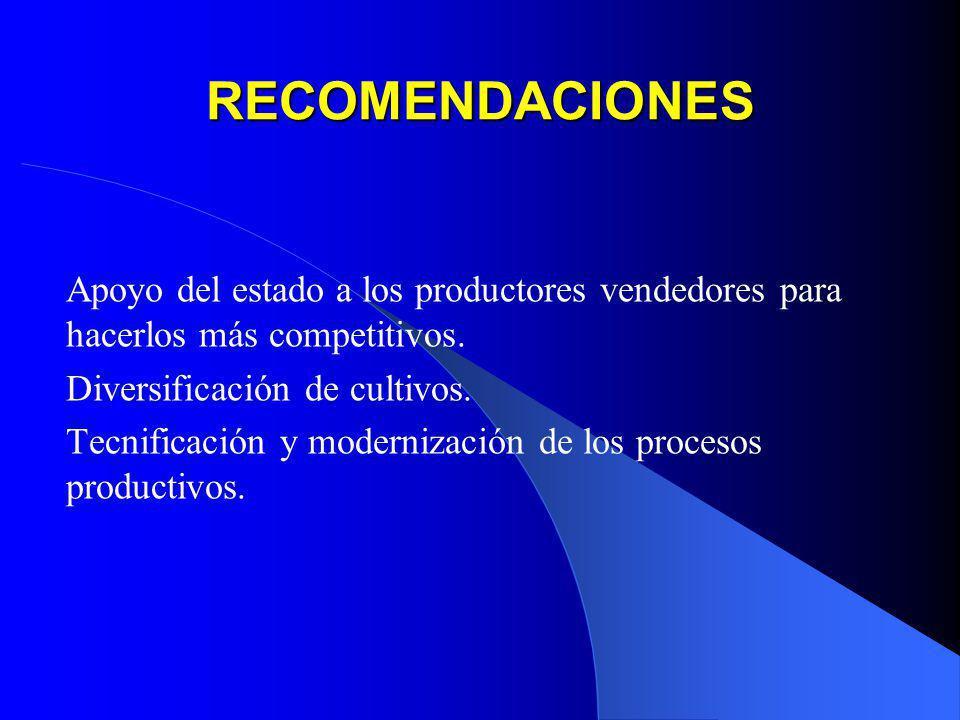 RECOMENDACIONES Apoyo del estado a los productores vendedores para hacerlos más competitivos. Diversificación de cultivos. Tecnificación y modernizaci