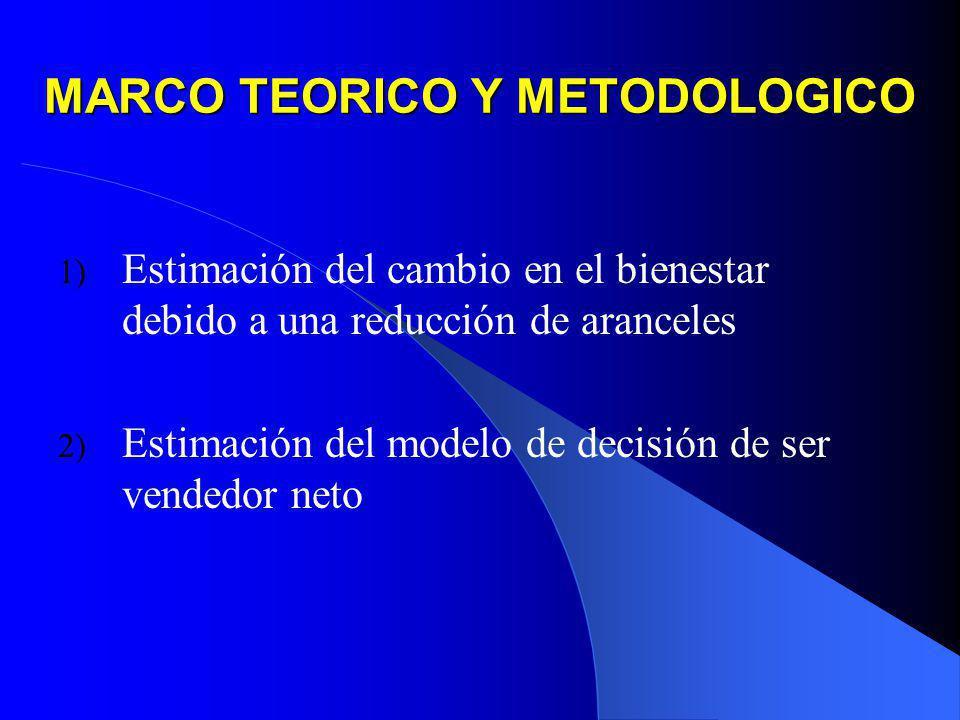 MARCO TEORICO Y METODOLOGICO 1) Estimación del cambio en el bienestar debido a una reducción de aranceles 2) Estimación del modelo de decisión de ser