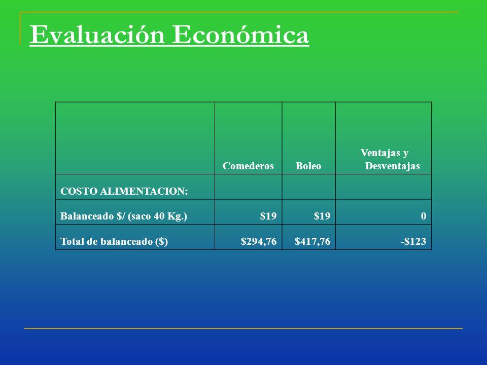 Evaluación Económica ComederosBoleo Ventajas y Desventajas COSTO ALIMENTACION: Balanceado $/ (saco 40 Kg.)$19 0 Total de balanceado ($)$294,76$417,76-$123