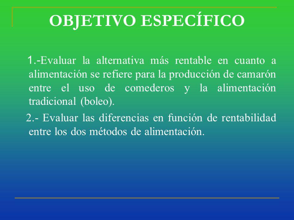 OBJETIVO ESPECÍFICO 1.- Evaluar la alternativa más rentable en cuanto a alimentación se refiere para la producción de camarón entre el uso de comederos y la alimentación tradicional (boleo).