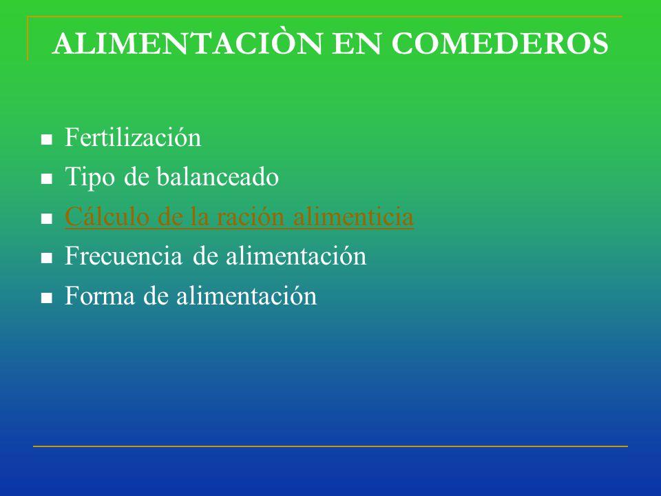 ALIMENTACIÒN EN COMEDEROS Fertilización Tipo de balanceado Cálculo de la ración alimenticia Frecuencia de alimentación Forma de alimentación