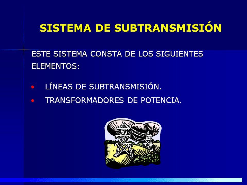 PARA SU MEJOR ESTUDIO SE DIVIDE EL SISTEMA ELÉCTRICO EN TRES SISTEMAS : SISTEMA DE SUBTRANSMISIÓN SISTEMA PRIMARIO DE DISTRIBUCIÓN SISTEMA SECUNDARIO