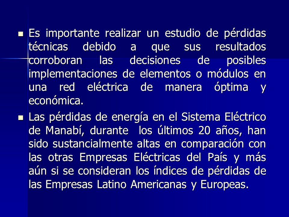 Las pérdidas eléctricas influyen en la operación del sistema eléctrico, perjudicando substancialmente los costos en la operación y en la calidad del s