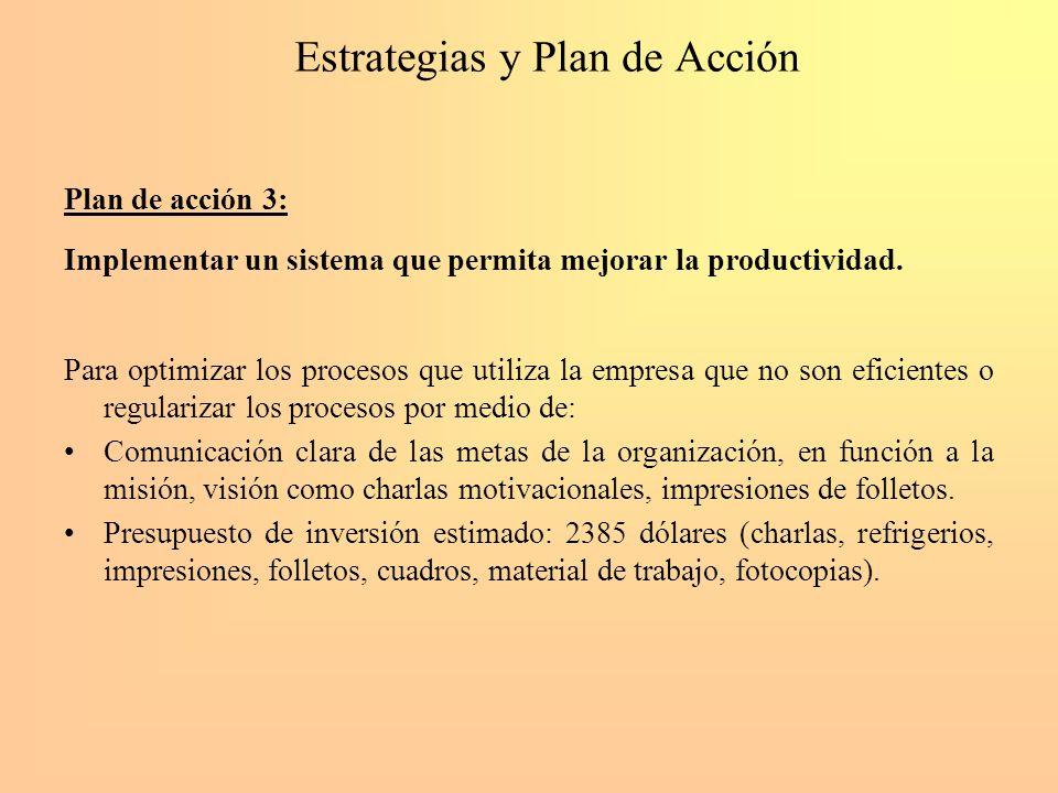 Estrategias y Plan de Acción Plan de acción 3: Implementar un sistema que permita mejorar la productividad. Para optimizar los procesos que utiliza la
