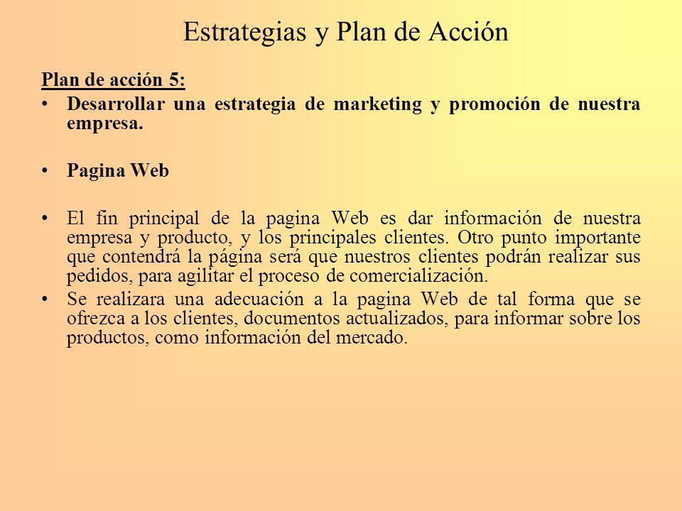 Estrategias y Plan de Acción Plan de acción 5: Desarrollar una estrategia de marketing y promoción de nuestra empresa. Pagina Web El fin principal de