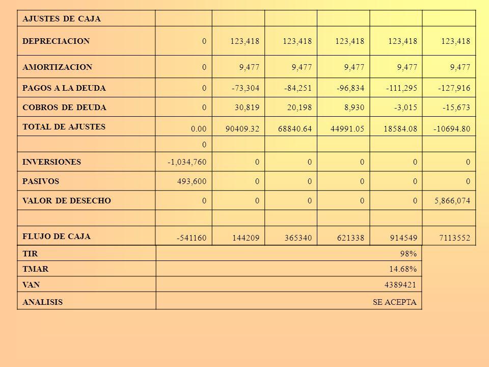AJUSTES DE CAJA DEPRECIACION0123,418 AMORTIZACION09,477 PAGOS A LA DEUDA0-73,304-84,251-96,834-111,295-127,916 COBROS DE DEUDA030,81920,1988,930-3,015