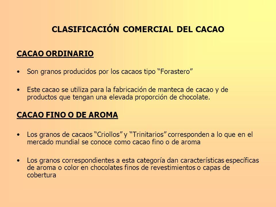 CLASIFICACIÓN COMERCIAL DEL CACAO CACAO ORDINARIO Son granos producidos por los cacaos tipo Forastero Este cacao se utiliza para la fabricación de man