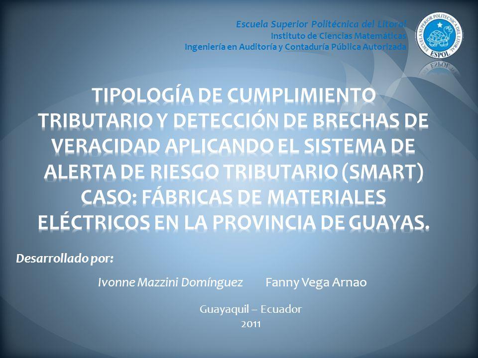 Desarrollado por: Ivonne Mazzini Domínguez Fanny Vega Arnao Escuela Superior Politécnica del Litoral Instituto de Ciencias Matemáticas Ingeniería en Auditoría y Contaduría Pública Autorizada Guayaquil – Ecuador 2011