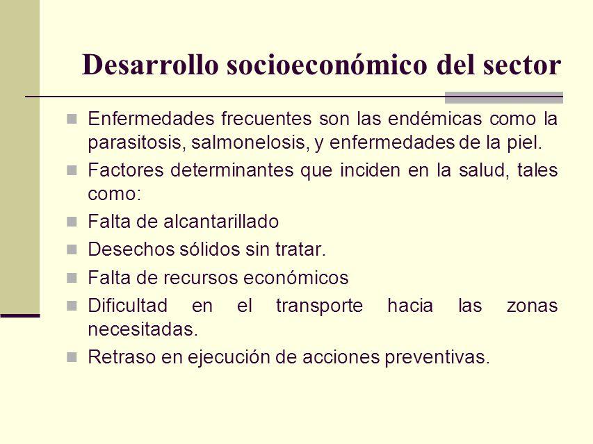 Enfermedades frecuentes son las endémicas como la parasitosis, salmonelosis, y enfermedades de la piel. Factores determinantes que inciden en la salud