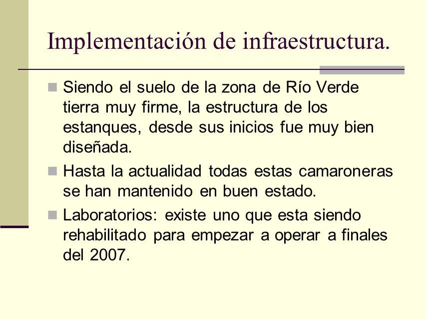 Implementación de infraestructura. Siendo el suelo de la zona de Río Verde tierra muy firme, la estructura de los estanques, desde sus inicios fue muy