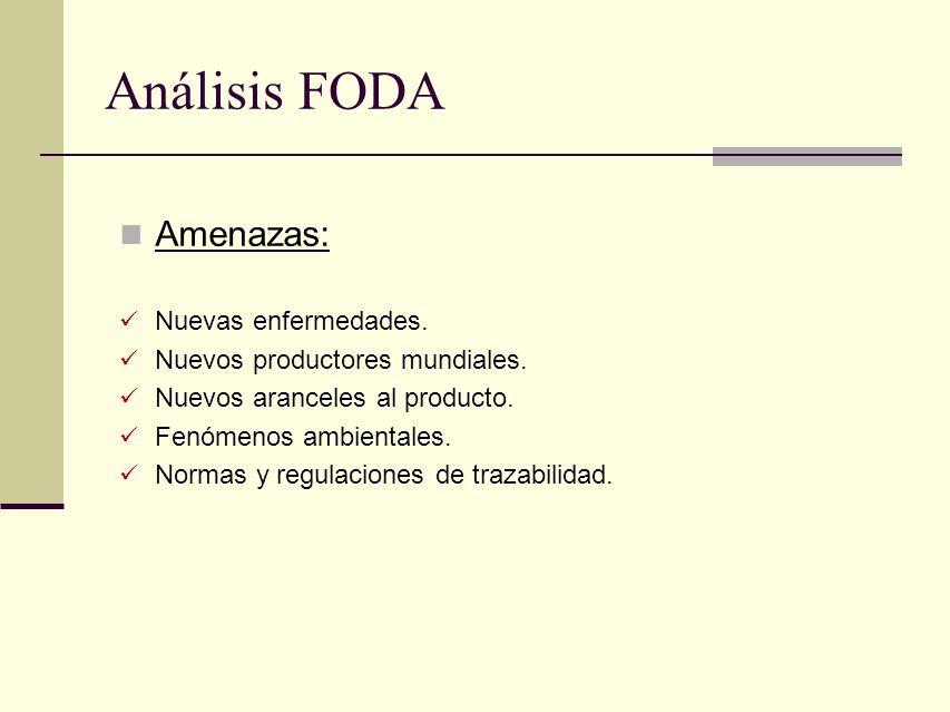 Análisis FODA Amenazas: Nuevas enfermedades. Nuevos productores mundiales. Nuevos aranceles al producto. Fenómenos ambientales. Normas y regulaciones