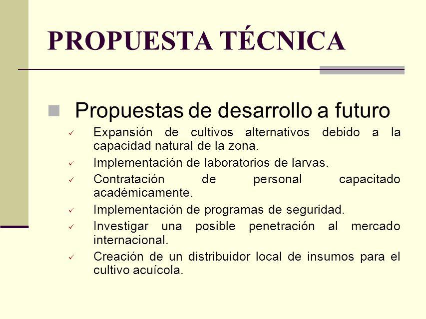 PROPUESTA TÉCNICA Propuestas de desarrollo a futuro Expansión de cultivos alternativos debido a la capacidad natural de la zona. Implementación de lab