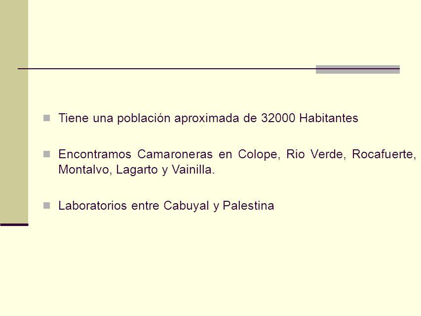 Tiene una población aproximada de 32000 Habitantes Encontramos Camaroneras en Colope, Rio Verde, Rocafuerte, Montalvo, Lagarto y Vainilla. Laboratorio