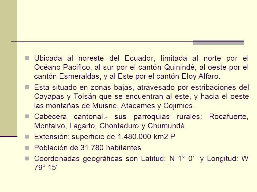 Ubicada al noreste del Ecuador, limitada al norte por el Océano Pacifico, al sur por el cantón Quinindé, al oeste por el cantón Esmeraldas, y al Este