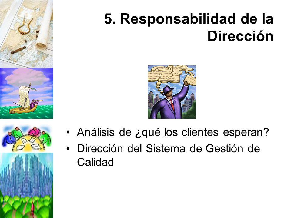 5. Responsabilidad de la Dirección Análisis de ¿qué los clientes esperan? Dirección del Sistema de Gestión de Calidad