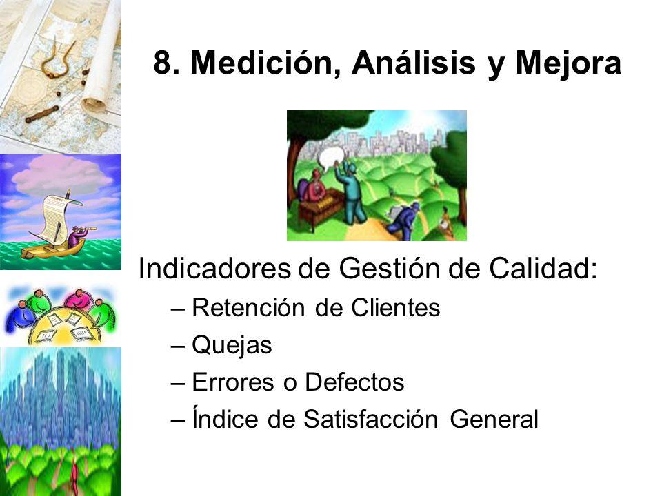 8. Medición, Análisis y Mejora Indicadores de Gestión de Calidad: –Retención de Clientes –Quejas –Errores o Defectos –Índice de Satisfacción General