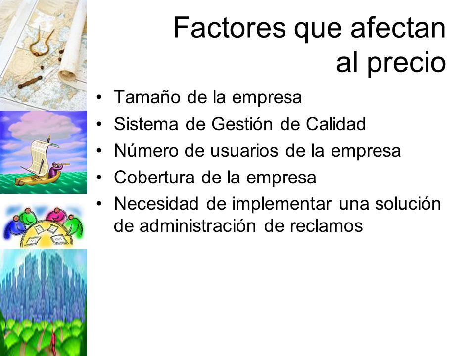 Factores que afectan al precio Tamaño de la empresa Sistema de Gestión de Calidad Número de usuarios de la empresa Cobertura de la empresa Necesidad d