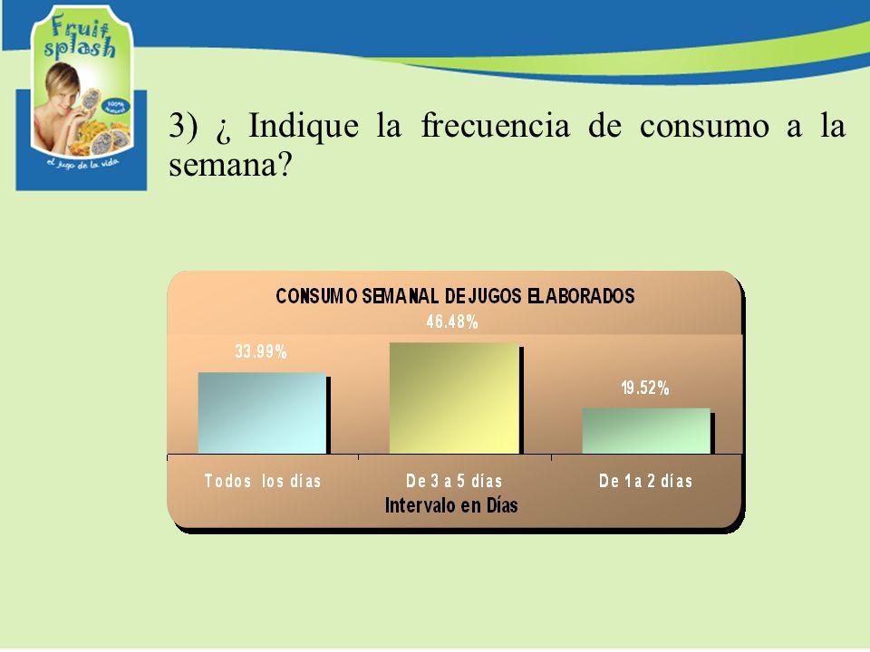 3) ¿ Indique la frecuencia de consumo a la semana?
