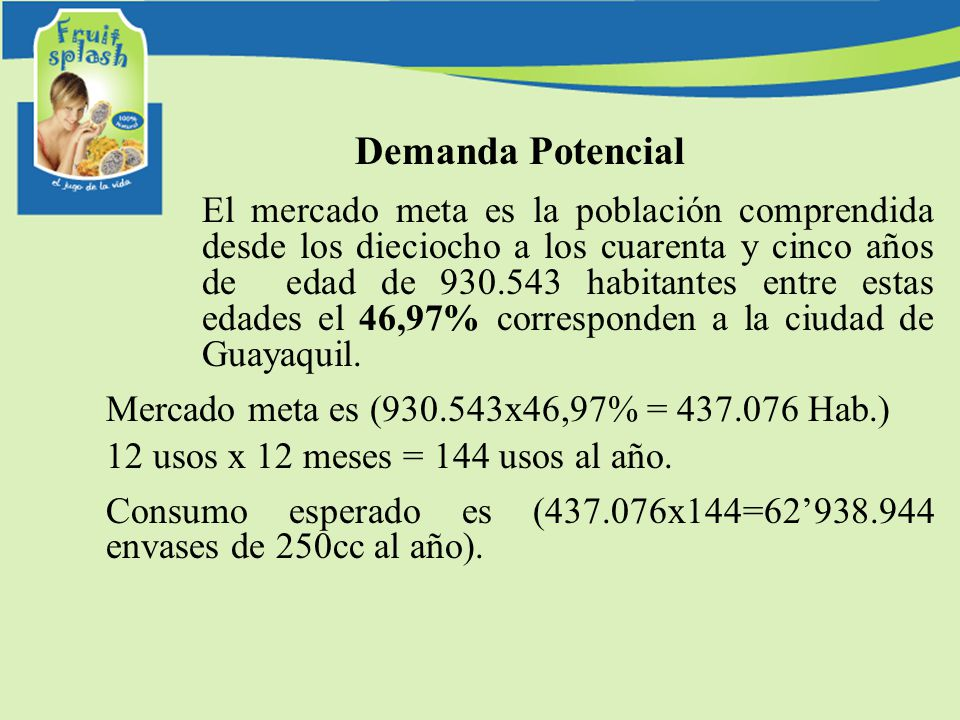 Demanda Potencial El mercado meta es la población comprendida desde los dieciocho a los cuarenta y cinco años de edad de 930.543 habitantes entre esta