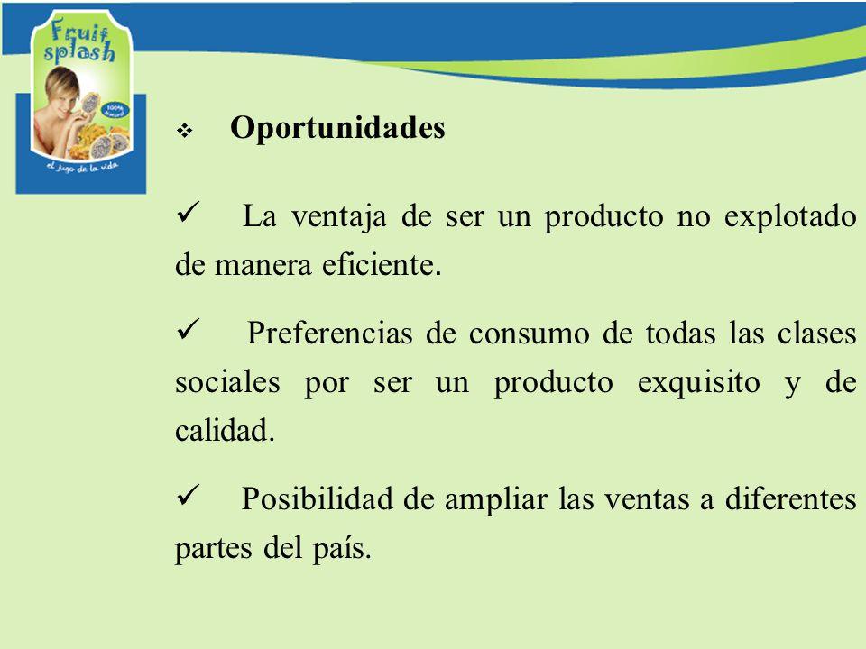 Oportunidades La ventaja de ser un producto no explotado de manera eficiente. Preferencias de consumo de todas las clases sociales por ser un producto