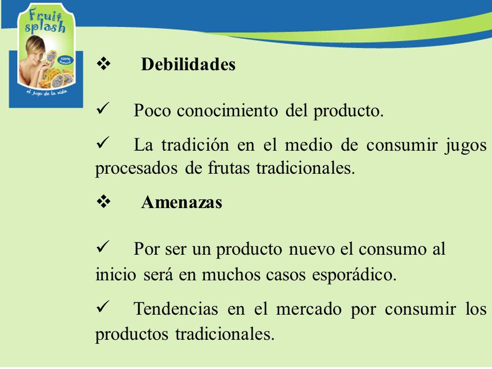 Debilidades Poco conocimiento del producto. La tradición en el medio de consumir jugos procesados de frutas tradicionales. Amenazas Por ser un product