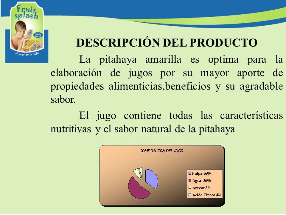 DESCRIPCIÓN DEL PRODUCTO La pitahaya amarilla es optima para la elaboración de jugos por su mayor aporte de propiedades alimenticias,beneficios y su agradable sabor.