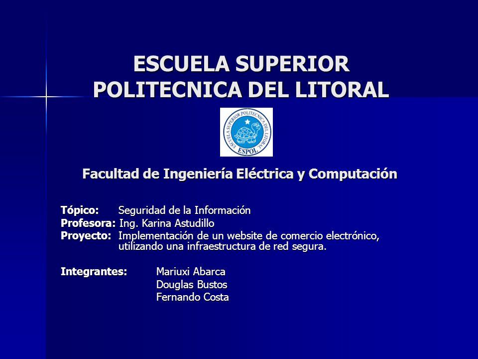 ESCUELA SUPERIOR POLITECNICA DEL LITORAL Tópico: Seguridad de la Información Profesora: Ing. Karina Astudillo Proyecto: Implementación de un website d