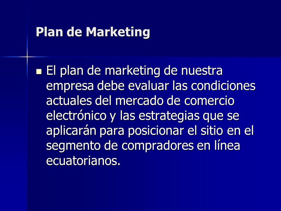 El plan de marketing de nuestra empresa debe evaluar las condiciones actuales del mercado de comercio electrónico y las estrategias que se aplicarán p