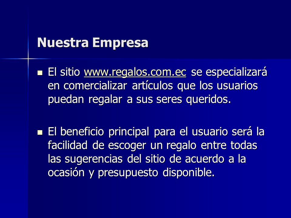 Nuestra Empresa El sitio www.regalos.com.ec se especializará en comercializar artículos que los usuarios puedan regalar a sus seres queridos. El sitio