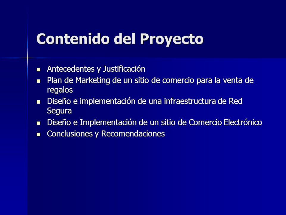 Contenido del Proyecto Antecedentes y Justificación Antecedentes y Justificación Plan de Marketing de un sitio de comercio para la venta de regalos Pl