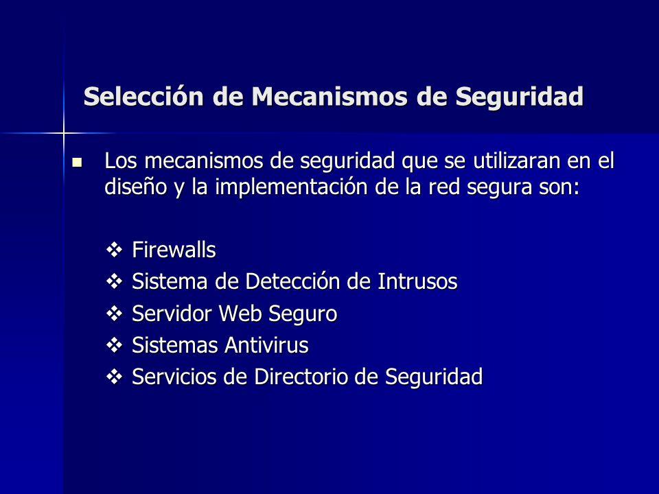 Selección de Mecanismos de Seguridad Los mecanismos de seguridad que se utilizaran en el diseño y la implementación de la red segura son: Los mecanism