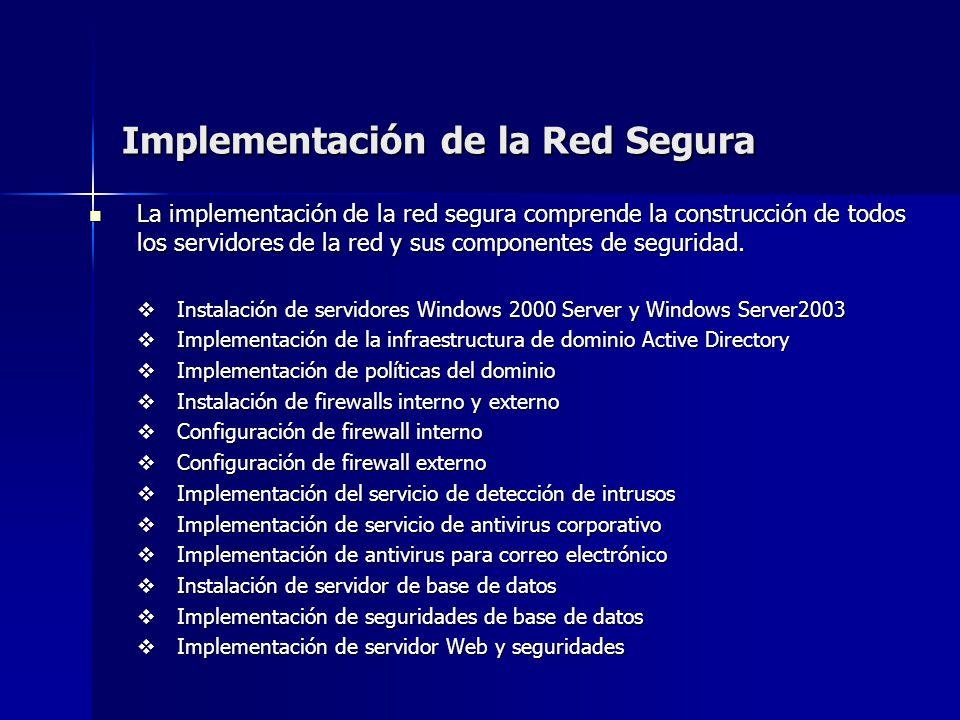 Implementación de la Red Segura La implementación de la red segura comprende la construcción de todos los servidores de la red y sus componentes de se