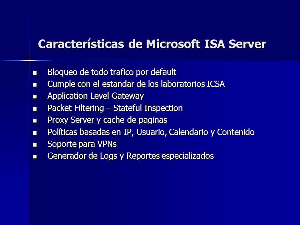Características de Microsoft ISA Server Bloqueo de todo trafico por default Bloqueo de todo trafico por default Cumple con el estandar de los laborato