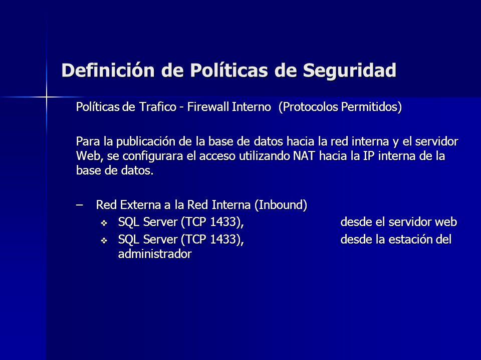 Definición de Políticas de Seguridad Políticas de Trafico - Firewall Interno (Protocolos Permitidos) Para la publicación de la base de datos hacia la