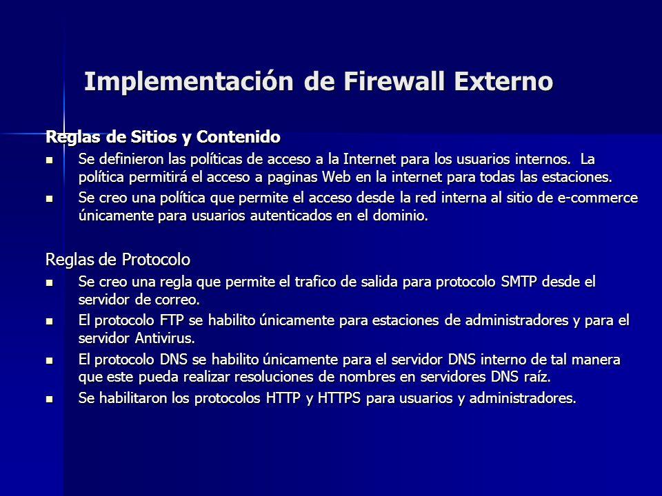 Implementación de Firewall Externo Reglas de Sitios y Contenido Se definieron las políticas de acceso a la Internet para los usuarios internos. La pol