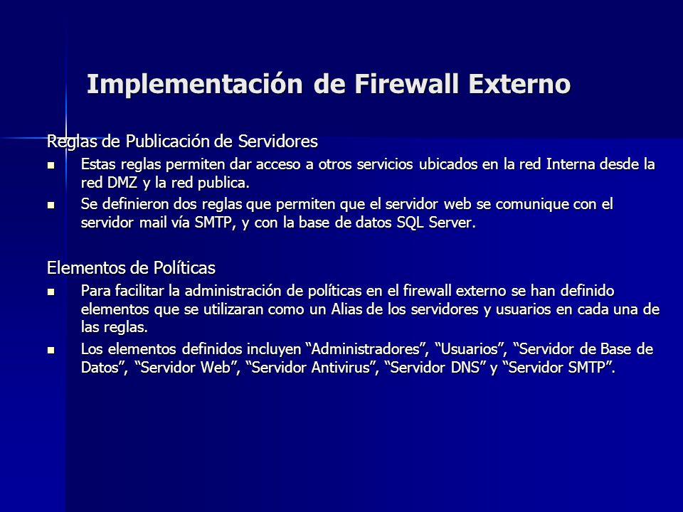 Implementación de Firewall Externo Reglas de Publicación de Servidores Estas reglas permiten dar acceso a otros servicios ubicados en la red Interna d