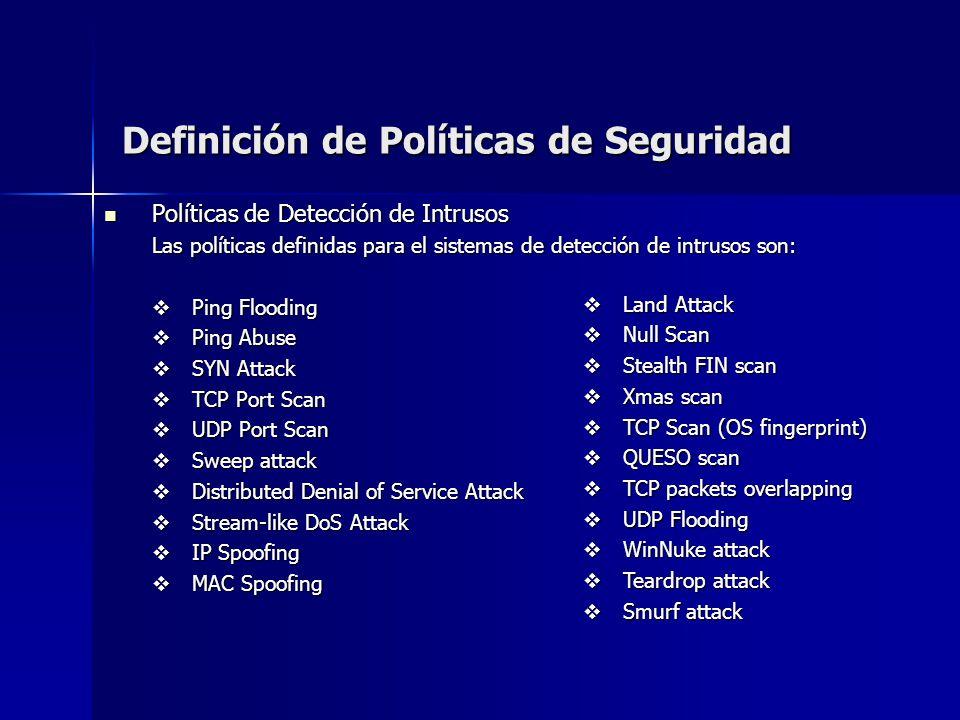 Definición de Políticas de Seguridad Políticas de Detección de Intrusos Políticas de Detección de Intrusos Las políticas definidas para el sistemas de