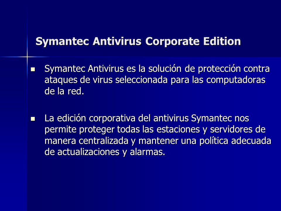 Symantec Antivirus Corporate Edition Symantec Antivirus es la solución de protección contra ataques de virus seleccionada para las computadoras de la