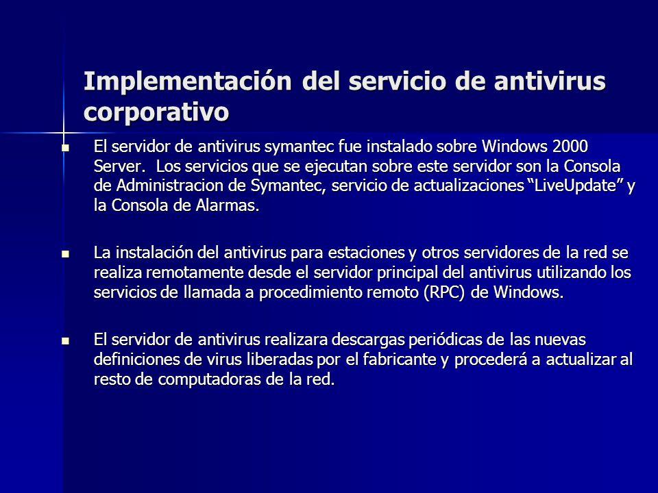 Implementación del servicio de antivirus corporativo El servidor de antivirus symantec fue instalado sobre Windows 2000 Server. Los servicios que se e