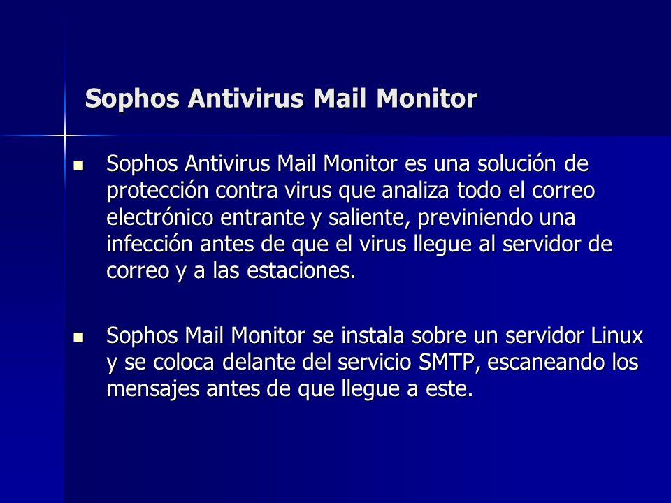 Sophos Antivirus Mail Monitor Sophos Antivirus Mail Monitor es una solución de protección contra virus que analiza todo el correo electrónico entrante